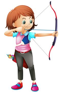 Buy Girl Playing Archery by interactimages on GraphicRiver. Illustration of a young girl playing archery on a white background