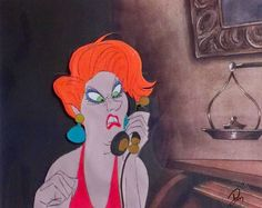 """Original hand painted production cel of Madame Medusa from the 1977 full length animated feature film """"The Rescuers"""" from Walt Disney Studios; Disney seal lower right;  The cel is placed on a lithographic copy of the matching watercolor background.  Framed with a brown wood frame, three mats, and UV conservation clear glass."""