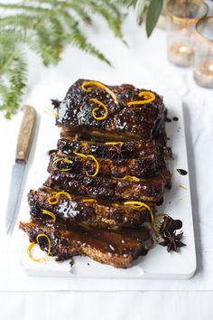 Dark & Sticky Glazed Pork Belly   DonalSkehan.com, Deliciously moist meat, brushed with warm citrus flavours!