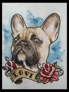 Mixed media portrait (watercolors, colored pencils, ink) of French Bulldog by ZZ