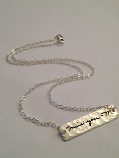 Memorial Signature Jewelry Hammered Bar Necklace  You actual loved ones signature  by SurfingSilver