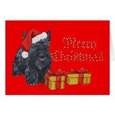 Playful Scottie Christmas Card