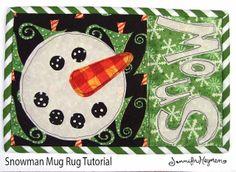 Snowman Mug Rug Pattern Christmas Mug Rugs, Christmas Sewing, Christmas Patterns, Christmas Quilting, Snowman Patterns, Christmas Crafts, Christmas Patchwork, Christmas Favors, Christmas Stuff