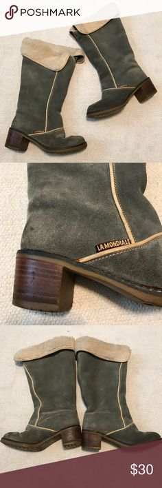 """Lamondiale Blue Suede Fur Lined Boots Super cute, made in Italy, blue suede with fur lined interior all the way down to the inside. They do have flaws that can be seen in the pictures, rubber soles, wooden heels. Heel height 2"""" shaft height 15"""" unfolded, calf opening 16"""" Lamondiale Shoes Winter & Rain Boots"""