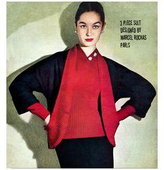 Vintage 50s Marcel Rochas Paris Couture Pencil Skirt Suit Knitting via Etsy.