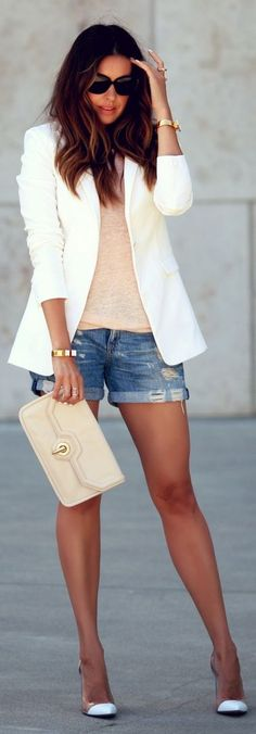 ❤️Love this!! ~ Summer night: nude basic tank & purse, white jacket & heels, denim shorts.