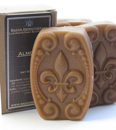 Handmade Almond Soap Organic Shea Butter & Almond Oil by Badanbody. this sounds fab. Soap Making Recipes, Homemade Soap Recipes, Glycerin Soap, Castile Soap, Savon Soap, Soap Carving, Soap Display, Luxury Soap, Lavender Soap