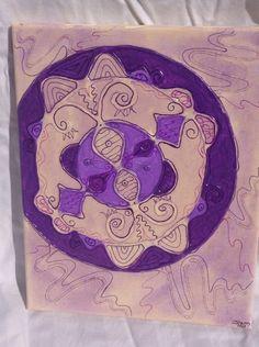 "Lavender Mandala 8x10"" Acrylic and glue on canvas"