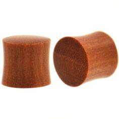 Jewelry Body Jewelry JewelryVolt Red Orange Agate Stone in Round Teak Wood Ear Plug