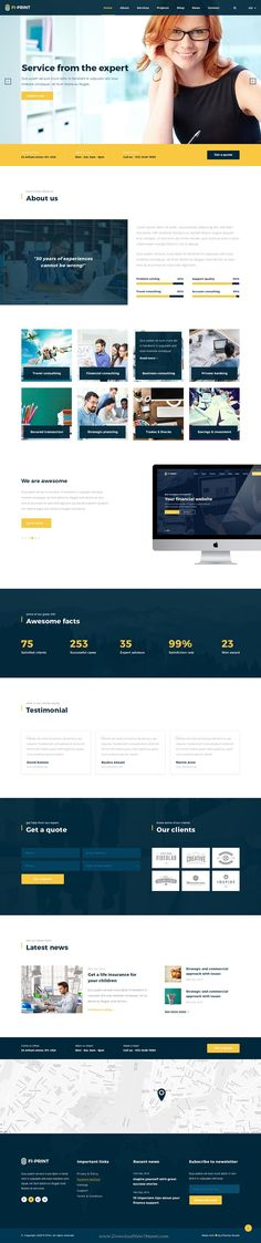 Fi-Print premium Business, Finance #PSD Template is best suited for corporate #website like Financial Advisor, #Accountant, Consulting Firms, insurance, loan, tax help, Investment firm etc.