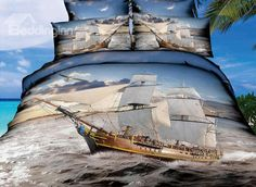 High Quality Ship Sailing on the Sea Print 4 Pieces Polyester 3D Bedding Sets #bestseller #beddinginn review