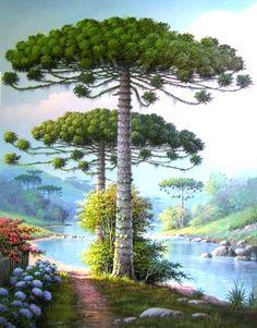 Bright Paintings, Beautiful Paintings, Beautiful Landscapes, Landscape Drawings, Landscape Art, Landscape Paintings, Seascape Art, Botanical Drawings, Naive Art