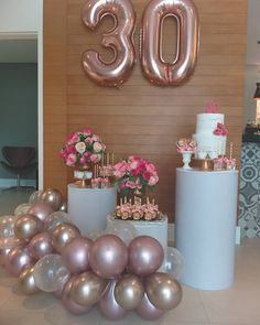 30th Birthday Decorations, Graduation Party Themes, Balloon Decorations Party, Birthday Goals, 30th Birthday Parties, Jolie Photo, 30th Party, 30th Anniversary Parties, Pink Party Decorations