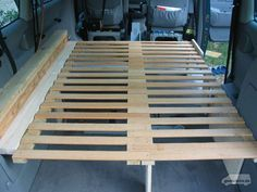 The slatted frame in extended condition Source by calwinsky Camping Box, Minivan Camping, Camping Hacks, Mini Camper, Mini Bus, Vw Camper, Caravan, School Bus House, Transit Camper