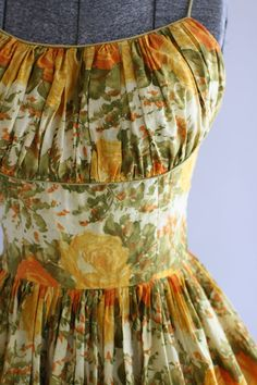 Vintage 1950s Dress / 50s Cotton Dress / Orange and Yellow Rose Border Print Dress w/ Shelf Bust S