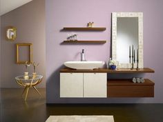 Contemporary bathroom vanity design ideas with porcelain sink Modern Bathroom Cabinets, Floating Shelves Bathroom, Bathroom Furniture, Bathroom Modern, Floating Vanity, Modern Vanity, Bathroom Storage, Teak Bathroom, Toilet Storage