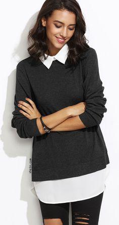 9ee821f52 Black Contrast Collar Curved Hem 2 In 1 Sweatshirt Roupa De Fim De Semana