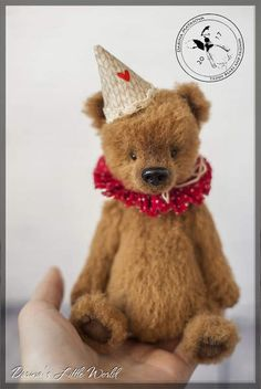 Good Day the Bear By Darina Matasova - His standing height is 17.5 cm (6.8 inches) and 14 cm (5.5 inches) is sitting one. He was sewn from German sheep wool only by hand on my author's pattern. He has movable limbs with 5-pin mounting. Good Day is stuffed with wool, sawdust and weighted with a metal granulate. He has Geman glas...