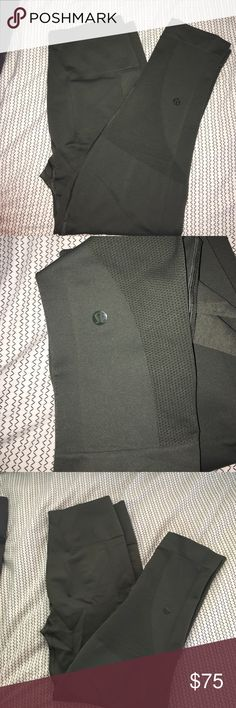 LULULEMON ZONE IN CROP Hard to find gator green, EUC. No rips, stains, pilling. Ive posted a pic next to black pair to see color contrast. lululemon athletica Pants