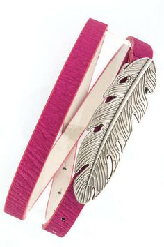 Feather Belt - Pink W/ Silver Buckle $15.99  http://www.kikilarue.com/feather-belt-pink-w-silver-buckle/