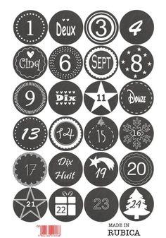 24 Aufkleber 1-24 Advent Adventskalender Zahlen Weihnachten Sticker Rentier Rudi