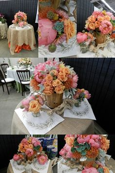 Carlsbad Open House 2012 Tablescape - peonies, roses, succulents, pincushion protea, scabiosa pods, and craspedia