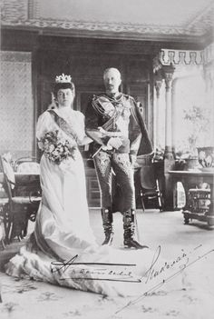 Wedding photograph of Grand Duke Nicholas Nikolaevich Romanov of Russia and Grand Duchess Anastasia Nikolaevna Romanova of Russia,Princess of Montenegro.A♥W