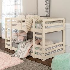 refurbished Taylor & Olive Browning Twin-over-Twin Low Bunk Bed (White), Kids Unisex Safe Bunk Beds, Bunk Beds For Girls Room, Girls Bunk Beds, White Bunk Beds, Modern Bunk Beds, Bunk Beds With Stairs, Twin Bunk Beds, Kid Beds, Child Room