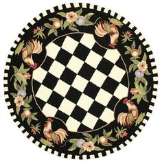 Shop The Gray Barn Evergreens Hand-hooked Moroccan Rooster Checkered Polyester Area Rug - On Sale - Overstock - 20487744 - Round - Black Dollar Tree Organization, Cute Car Accessories, Area Rugs For Sale, Floor Cloth, Round Area Rugs, Cool Rugs, Wool Area Rugs, Colorful Rugs, Country Style