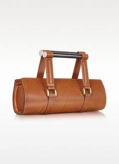 Aznom Carbon Lady Vintage - Brown Leather Baguette Bag with Ergonomic Handles | FORZIERI
