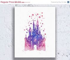 NOW ONLY $2. Cinderella Disney Castle Print Watercolor by AllArtPrints on Etsy