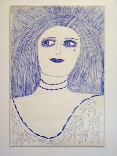 "Original Lee Godie Drawing ""Lady / Hands"" Outsider Art Vintage Chicago #Outsider"