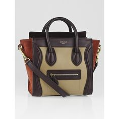 Pre-owned Celine Tricolor Calfskin Leather and Suede Nano Luggage Bag ($2,000) ❤ liked on Polyvore featuring bags, handbags, tote handbags, zip top tote, celine tote, pre owned handbags and suede handbags