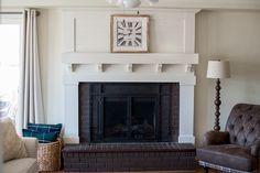 Fireplace Makeover • Le Bois Home Reface Brick Fireplace, Brick Fireplace Remodel, Fireplace Update, Brick Fireplace Makeover, Home Fireplace, Living Room With Fireplace, Fireplace Surrounds, Fireplace Design, Fireplace Ideas