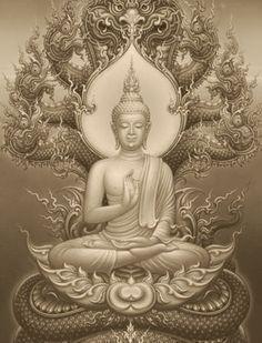 Buddha & Nāga ☸️ Naga deva protects Buddha from the rain. Buddha Tattoo Design, Buddha Tattoos, Body Art Tattoos, Sleeve Tattoos, Arte Ganesha, Arte Shiva, Buddha Kunst, Buddha Art, Buda Wallpaper