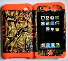 """myLife 2 Layered Protection Hybrid Case for Apple iPod 4 iTouch {Orange, Brown and Black """"Flying Geese Camo"""" Three Piece SECURE-Fit Rubberized Gel} myLife Brand Products http://www.amazon.com/dp/B00VKN4FG6/ref=cm_sw_r_pi_dp_uUcmvb1NY4BKB"""