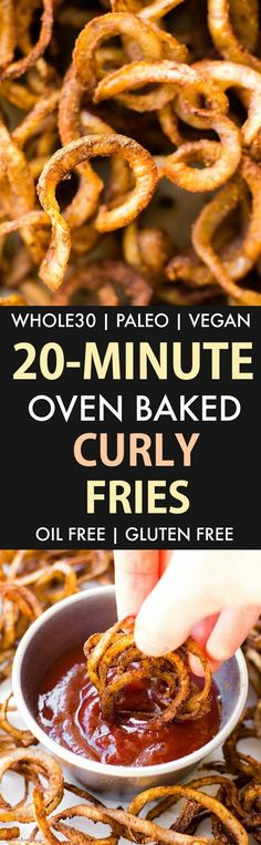 Crispy Oven Baked Curly Fries (Whole30, Paleo, Vegan, Gluten Free)- Easy crispy spiralized oil-free baked potatoes which are the perfect whole30 approved snack or savory side dish! #whole30 #whole30approved #paleorecipe - Recipe on thebigmansworld.com
