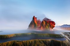 Fly Geyser, Nevada, USA Ok, this geyser isn't 100% natural, but it was formed by accident. In 1964 drilling for sources of geothermal energy caused minerals to rise up into the strange-but-true form you can still admire today.