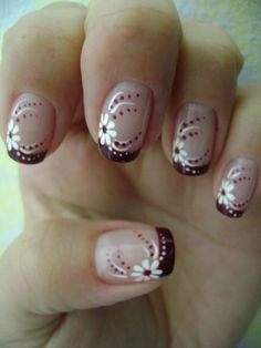 Always with love Uniquely RA Unhas Pintadas E Decoradas Unhas Desenhadas Flores Unhas Decoradas French Nail Designs, Cool Nail Designs, Fingernail Designs, Acrylic Nail Designs, Nagellack Design, French Tip Nails, French Pedicure, Super Nails, Flower Nails