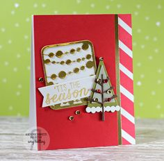 Card by Amy Kolling. Reverse Confetti stamp sets: Seasonal Sentiments and So Stripey. Confetti Cuts: Branch Out and Pretty Panels Mini Circle Garland. Christmas card.