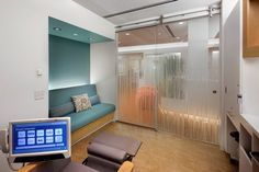 exam room, glass film, colored seating