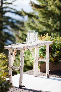 A Classic, Rustic Mountain Wedding at The Little Nell in Aspen, Colorado Alter Decor, Birch Tree Wedding, Tree Table, Event Planning Tips, Aspen Trees, Trendy Tree, Wedding In The Woods, Diy Wedding, Wedding Ideas