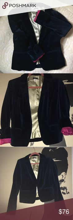 BEAUTIFUL Midnight Blue J Crew Blazer This is a classic Blazer, comfortable with silk lining and velvet. I purchased it in a Petite size because I wanted it to hit higher on the hip. This Blazer is extremely nice since it can be extremely dressy or roll up the sleeve and throw on some jeans for a classic fashion look. Fish hook closure with the only sign of wear being the rip in the tag (as photo shows). J. Crew Jackets & Coats Blazers