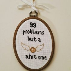 DIY Harry Potter cross stitch. 99 problems but a snitch aint one! styleandsewing.wordpress.com