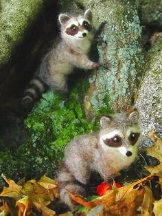 Needle felted raccoon poseable woodland animal by Ainigmati