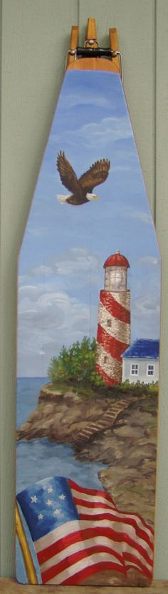Oil Painting of a Lighthouse on antique ironing by BoardsbyBarb, $220.00
