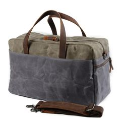 Casual Waxed Canvas Leather Mens Large Travel Weekender Bag Luggage Duffle Bag Fitness Bag for Men Canvas Duffle Bag, Waxed Canvas Bag, Duffle Bags, Messenger Bags, Canvas Leather, Travel Bags Carry On, Duffle Bag Travel, Sac Week End, Leather Handbags