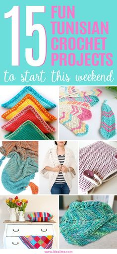 We've tracked down these 15 fun tunisian crochet projects for you to make. The result is a beautiful woven looking stitch design that's thick and luxurious to the touch. #crochet #crochetlove #yarnlove