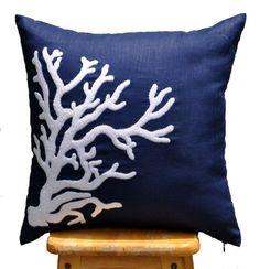 "Coral Throw Pillow Cover, Decorative Pillow Cover, Nautical Pillow Cover, White Coral, Navy Blue Linen Pillow (18"") KAINKAIN http://www.amazon.com/dp/B00KCM0XGM/ref=cm_sw_r_pi_dp_rz2gvb1KG0474"
