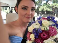 Spring colour bridal bouquet in pink white and bkue colour palette of roses, ranuncula, delphinium and paper daisy by Sydney Wedding Florist Erichsen Botanica Wedding Bouquets, Wedding Flowers, Paper Daisy, Sydney Wedding, Delphinium, Spring Colors, Spring Wedding, Pink White, Roses